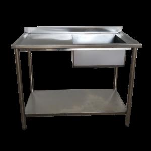 Mesa com Pia em aço inox com 1 cuba 140x70x90